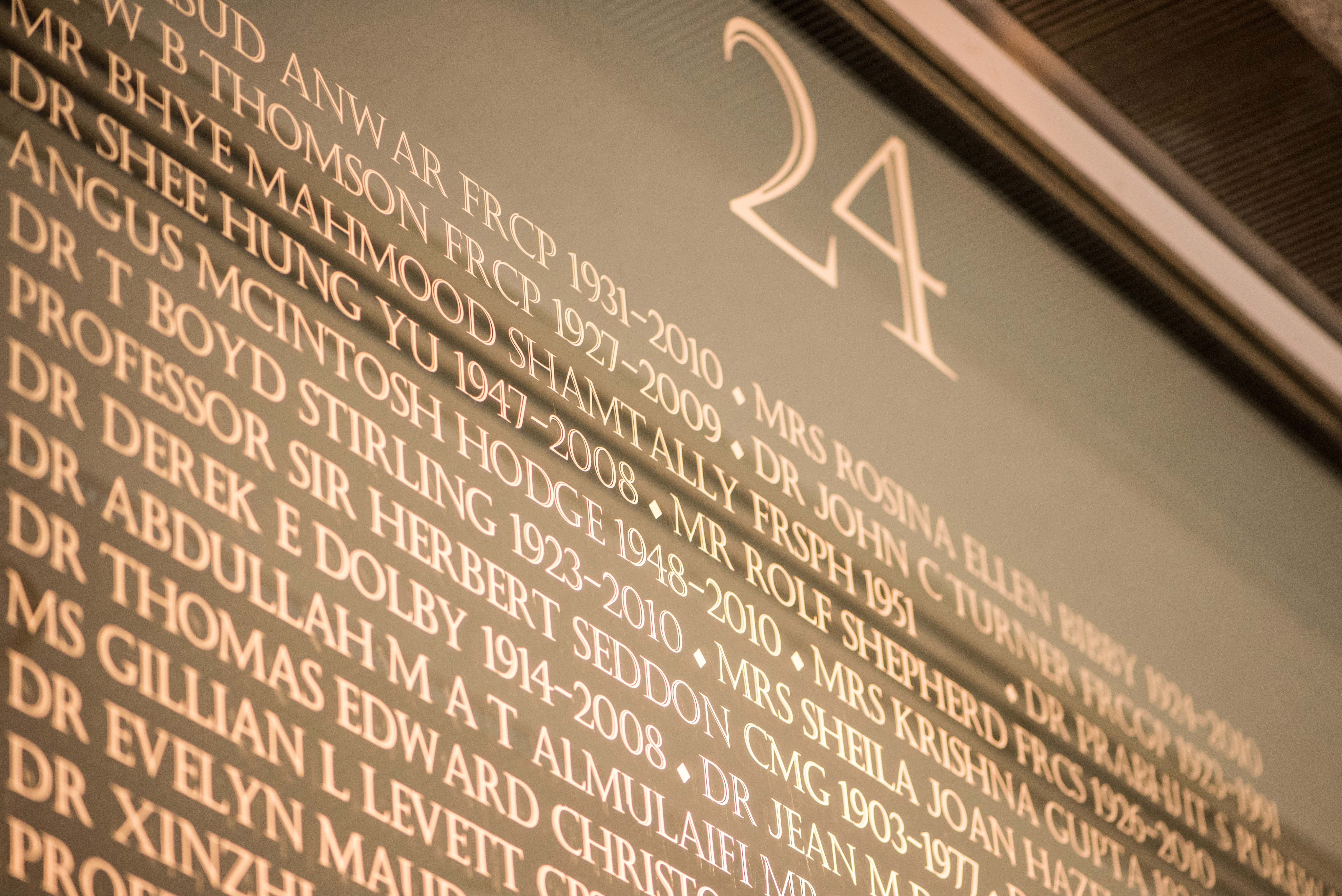 Wall of honour - close up with number